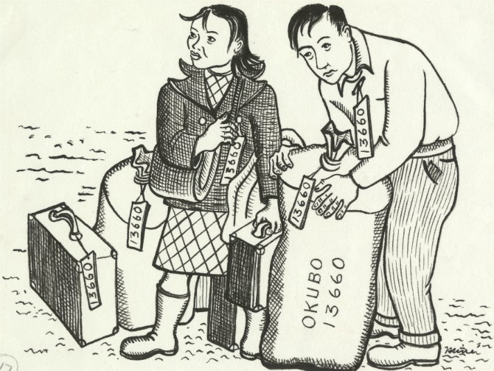 Miné Okubo, [Miné and Toku standing with their luggage, Berkeley, California], 1942. Drawing. Courtesy of the Japanese American National Museum, gift of Miné Okubo Estate, 2007.62.