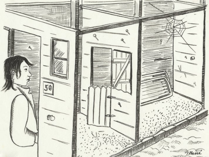 Miné Okubo, [Interior view of Miné and Toku's barrack, Tanforan Assembly Center, San Bruno, California], 1942. Drawing. Courtesy of the Japanese American National Museum, gift of Miné Okubo Estate, 2007.62.