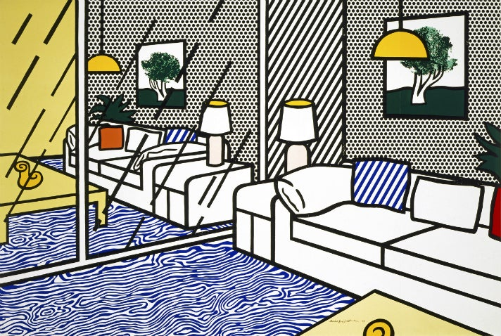 "Roy Lichtenstein, ""Wallpaper with Blue Floor Interior,"" 1992"
