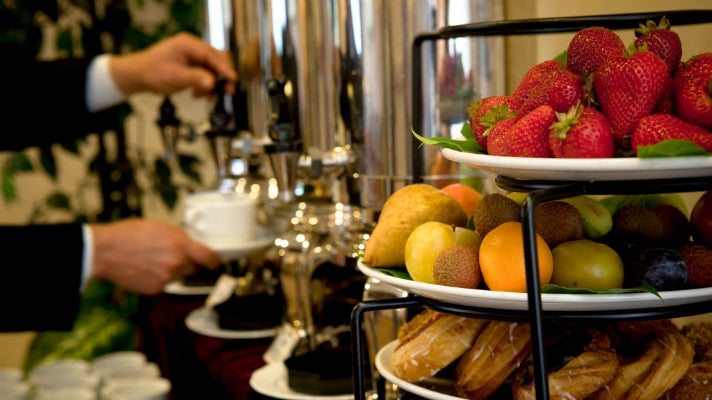 Coffee and fruit at Hilton Los Angeles/Universal City meeting