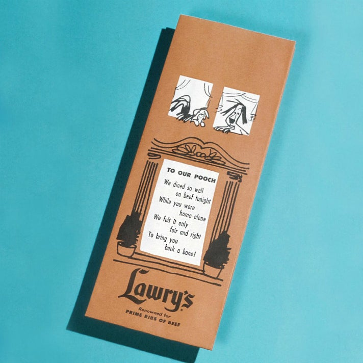 Doggie bag from Lawry's The Prime Rib ca. 1960s