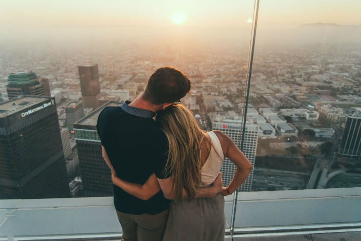 Watching the sunset at OUE Skyspace L.A.