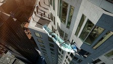 Overhead view of the Skyslide at OUE Skyspace LA