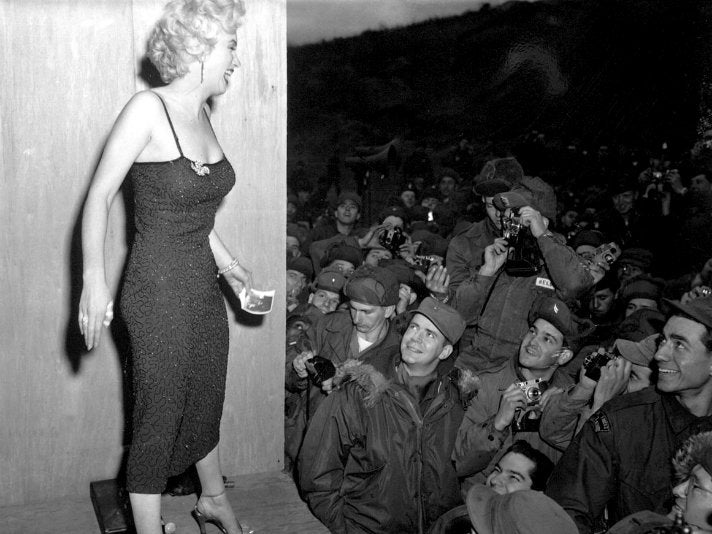 Marilyn Monroe in Korea, after a USO performance