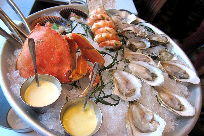 Dungeness crab, shrimp, and oysters at Fishing With Dynamite