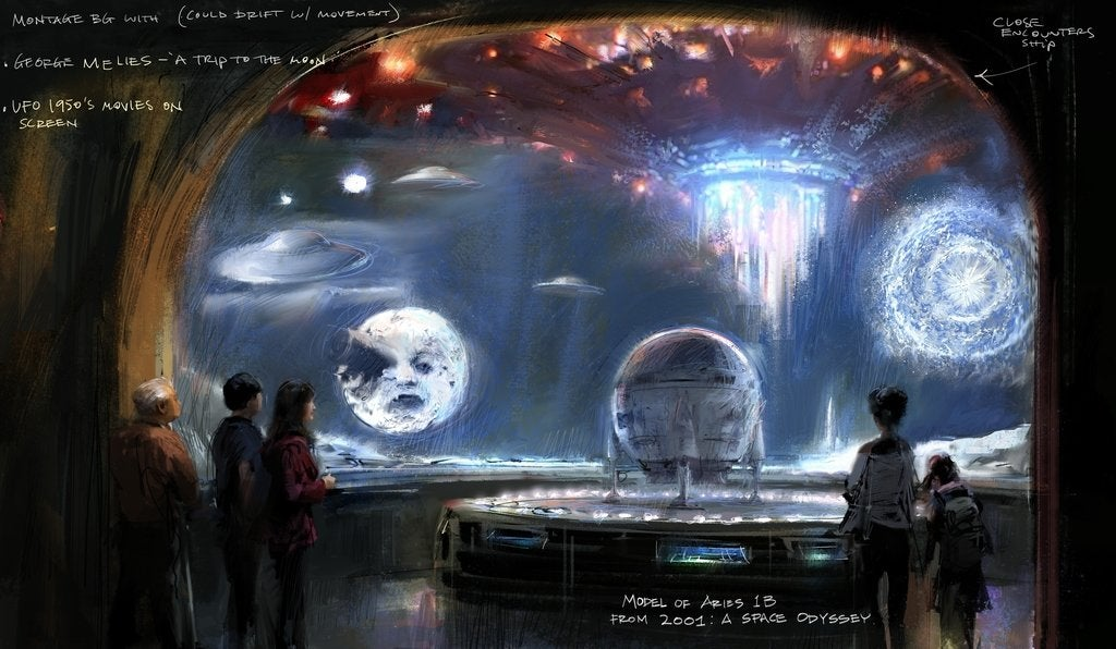 """Concept illustration of Imaginary Worlds gallery from """"Where Dreams Are Made"""" at Academy Museum"""